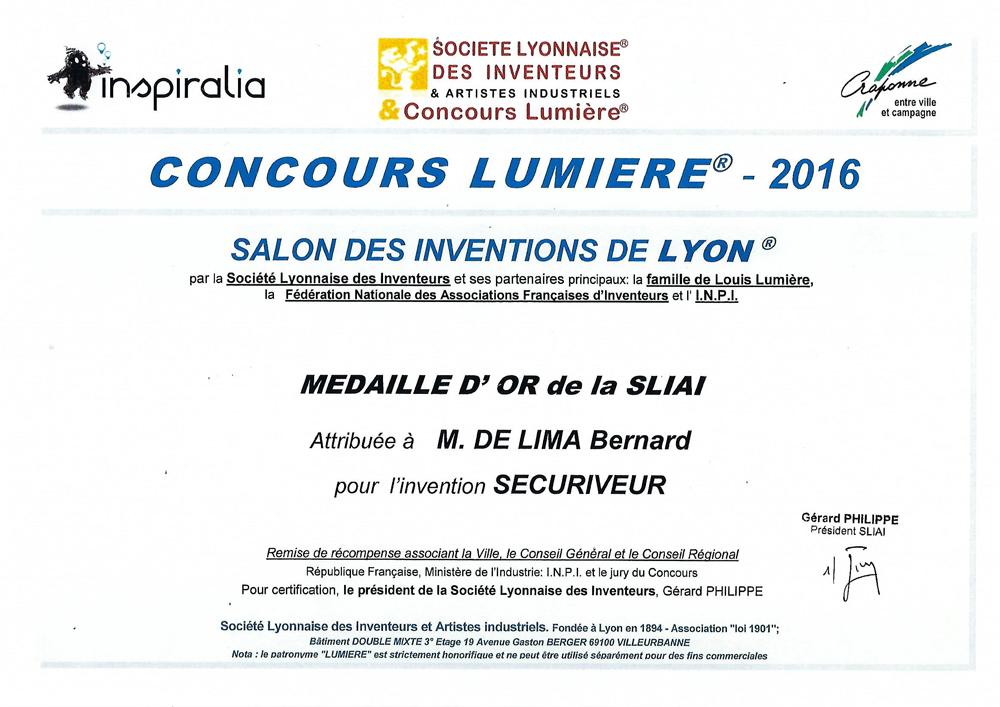 Médaille d'Or au Concours Lumiere 2016