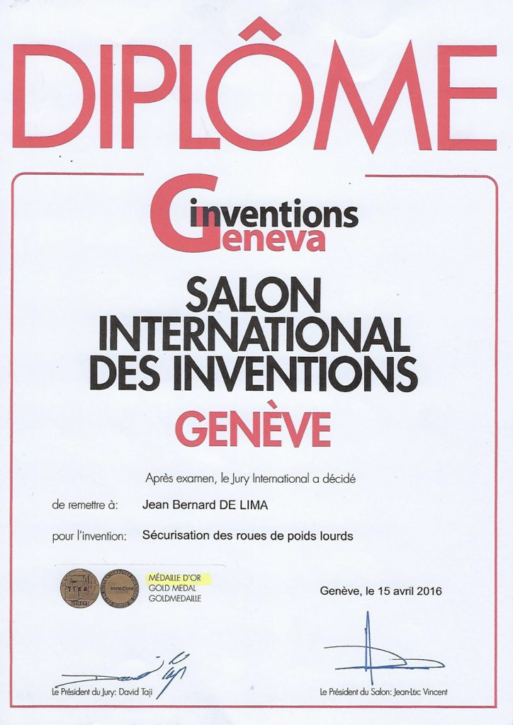 Médaille d'Or au Concours des Inventions de Geneve 2016